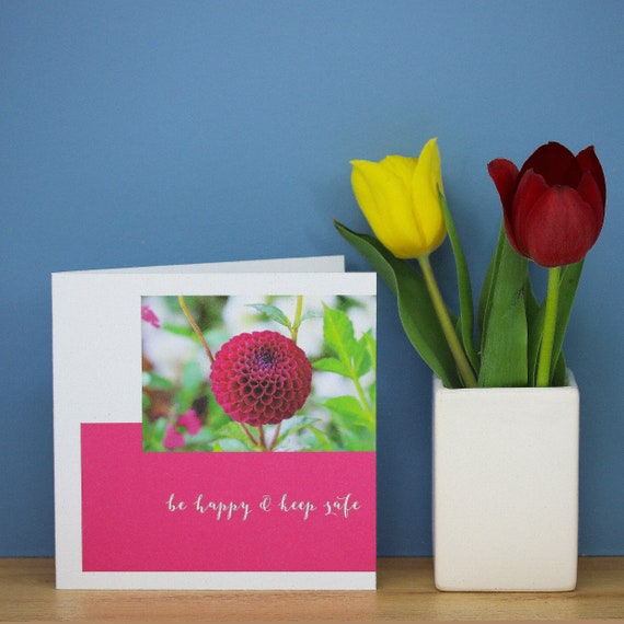 Personalised Dahlia Flower Card