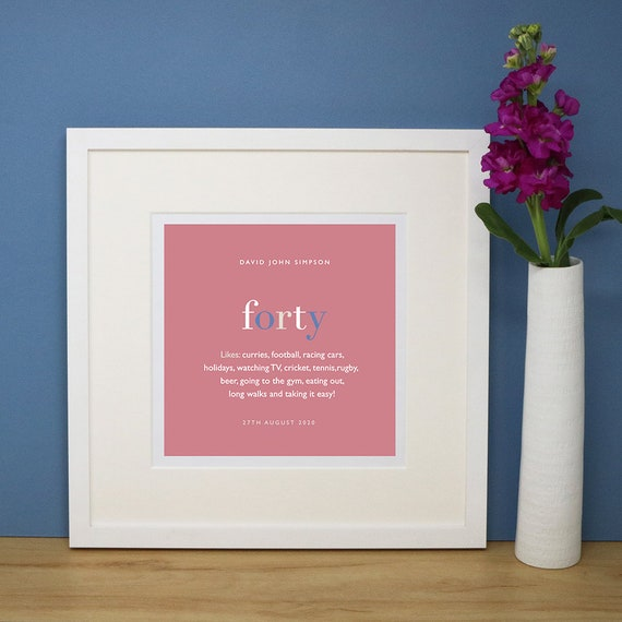 Personalised 40th Birthday Print with Mount (frame NOT included)