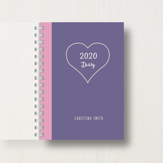 Personalised 2020 Diary with Love Heart