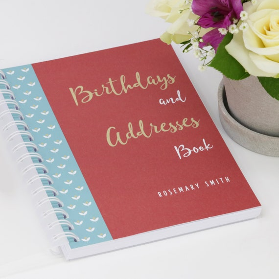 Personalised Birthday and Address Book With Flowers