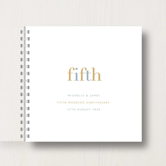 Personalised 5th Wedding Anniversary Memories Book or Album