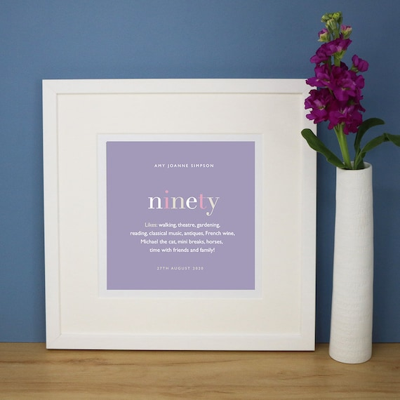 Personalised 90th Birthday Print with Mount (frame NOT included)