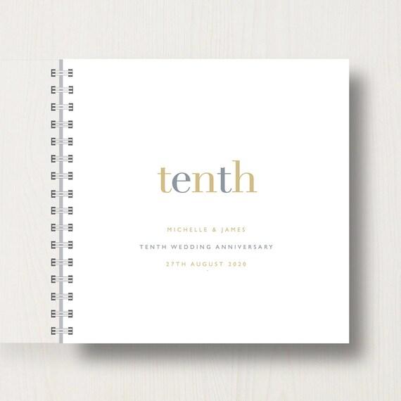 Personalised 10th Wedding Anniversary Memories Book or Album