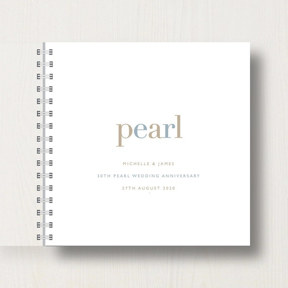 Personalised 30th Pearl Anniversary Memories Book or Album