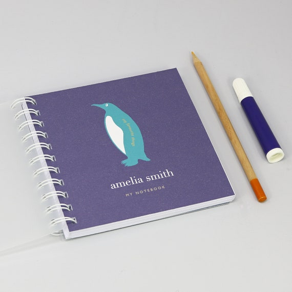 Personalised Children's Penguin Small Notebook