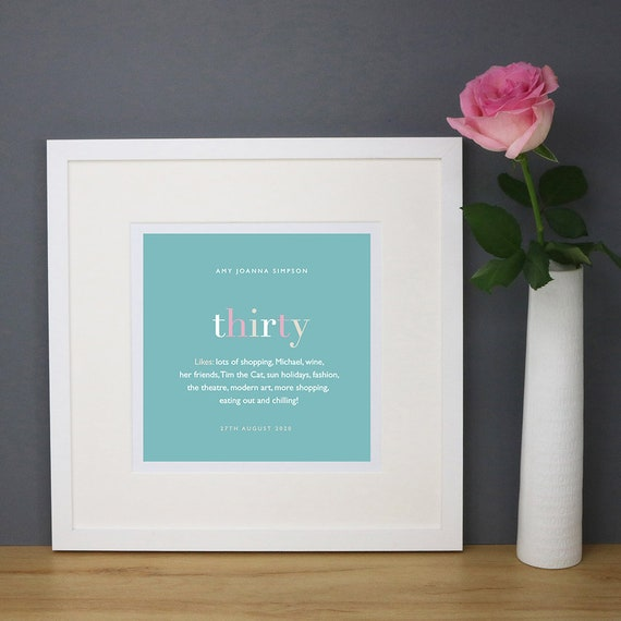 Personalised 30th Birthday Print with Mount (frame NOT included)