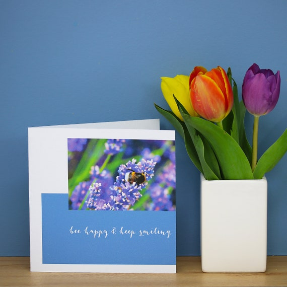 Personalised Lavender Flower And Bee Card