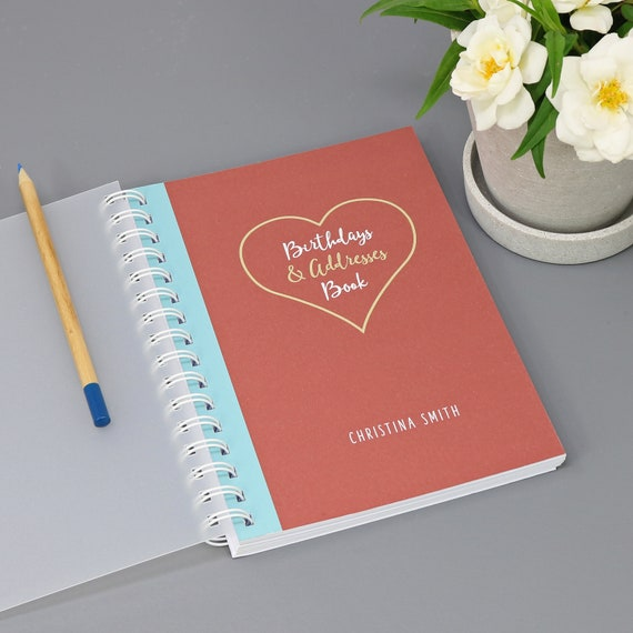 Personalised Birthday and Address Book with Heart