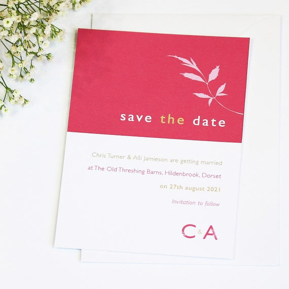 Floral Initials Wedding Save The Date Card