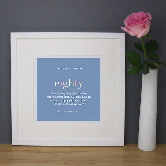 Personalised 80th Birthday Print with Mount (frame NOT included)