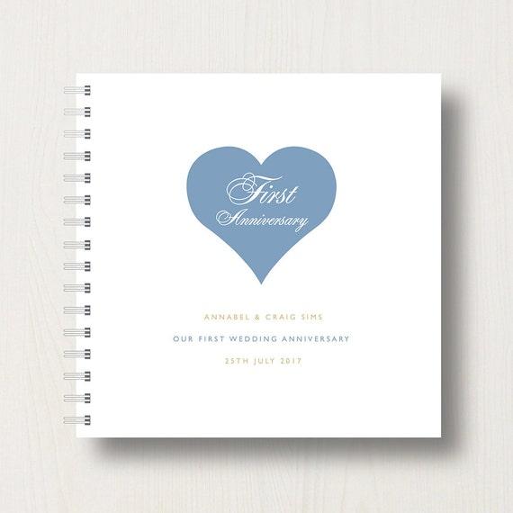 Personalised 1st Anniversary Heart Memory Book or Album