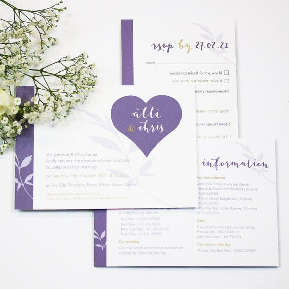 Heart Floral Wedding Stationery Collection