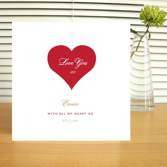 Personalised Love Heart Valentine's Card