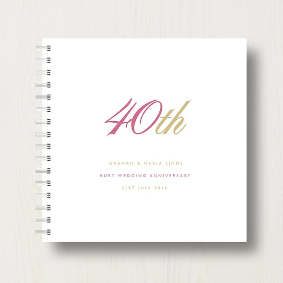 Personalised 40th Ruby Anniversary Book or Album
