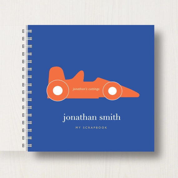Personalised Kid's Racing Car Scrapbook or Memory Book
