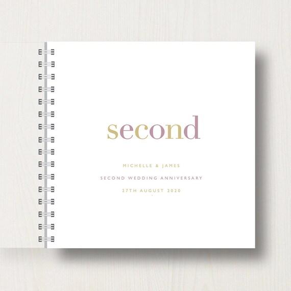 Personalised 2nd Wedding Anniversary Memories Book or Album