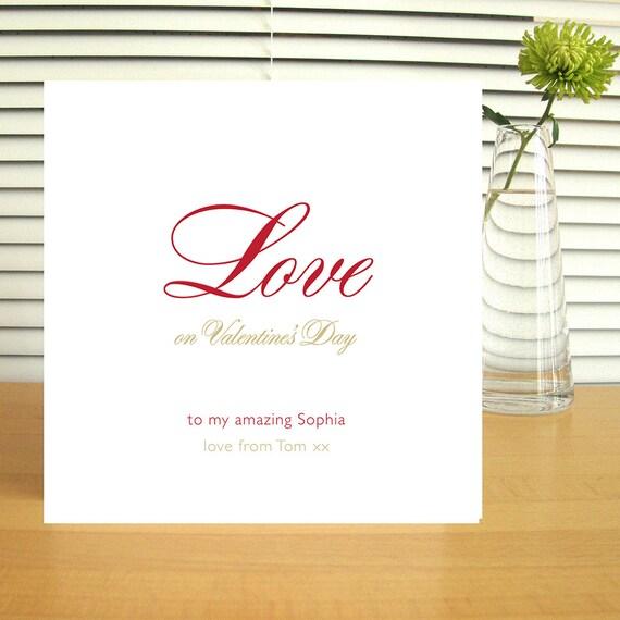 Personalised 'Love' Valentine's Card