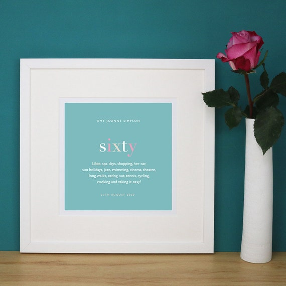 Personalised 60th Birthday Print with Mount (frame NOT included)