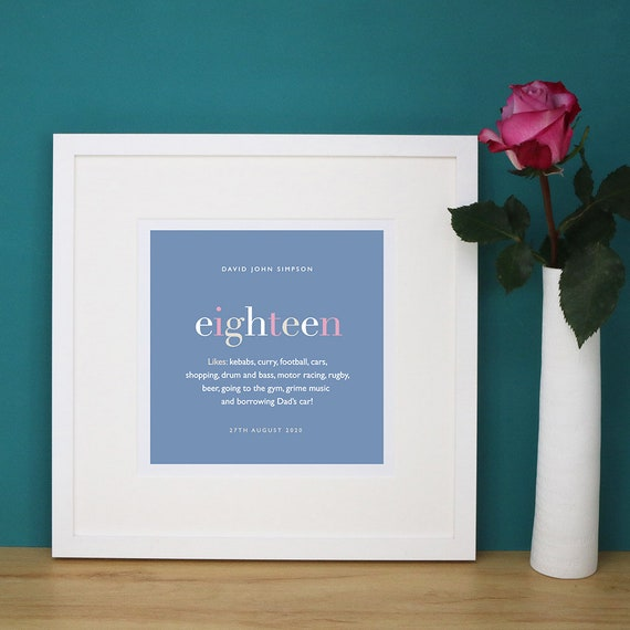 Personalised 18th Birthday Print with Mount (frame NOT included)