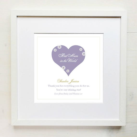 Personalised Love Heart Mother's Day Print with Mount (frame NOT included)