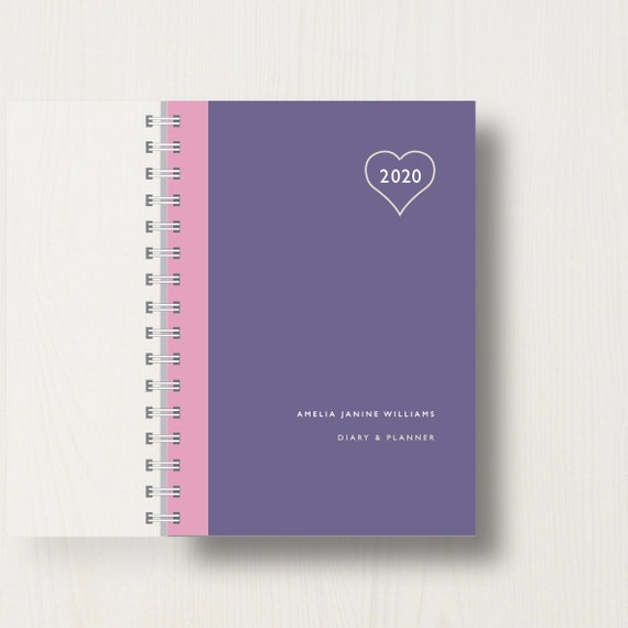 Personalised 2020 Diary With Heart