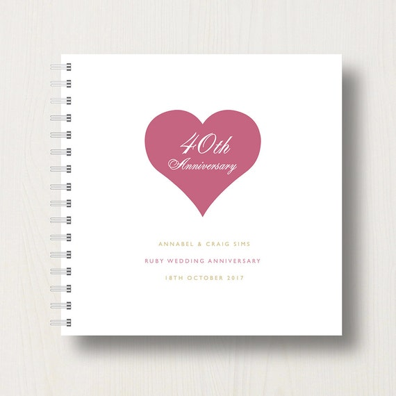 Personalised 40th Ruby Anniversary Memory Book or Album