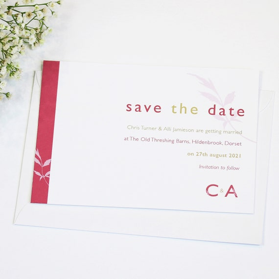 Initial Letters Wedding Save The Date Card