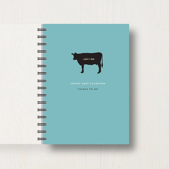 Personalised Cow Lovers Journal or Notebook