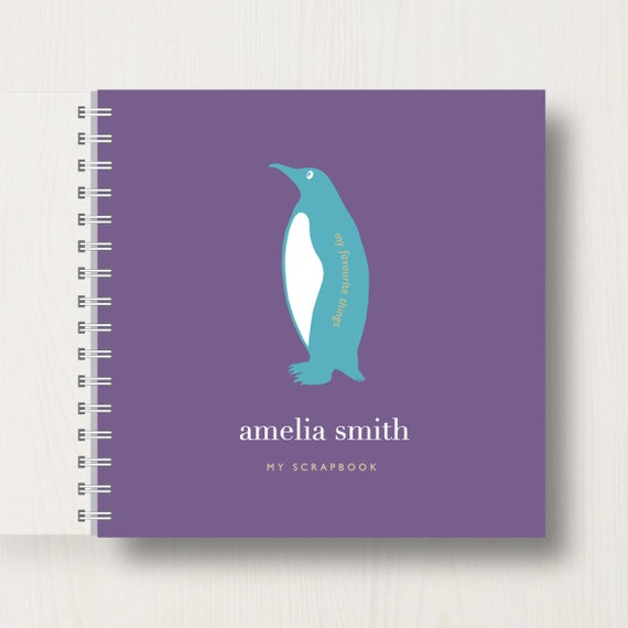Personalised Kid's Penguin Scrapbook or Memory Book
