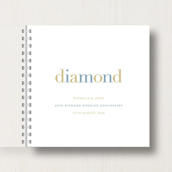 Personalised 60th Diamond Anniversary Memories Book or Album