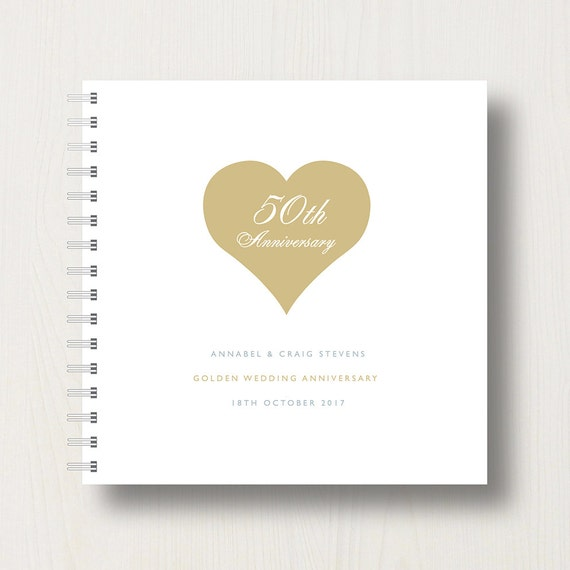 Personalised 50th Golden Anniversary Memory Book or Album