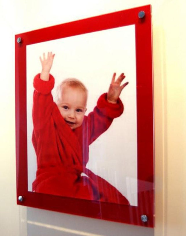 Red Cheshire Acrylic Perspex Plexiglas Floating Picture Photo Wall