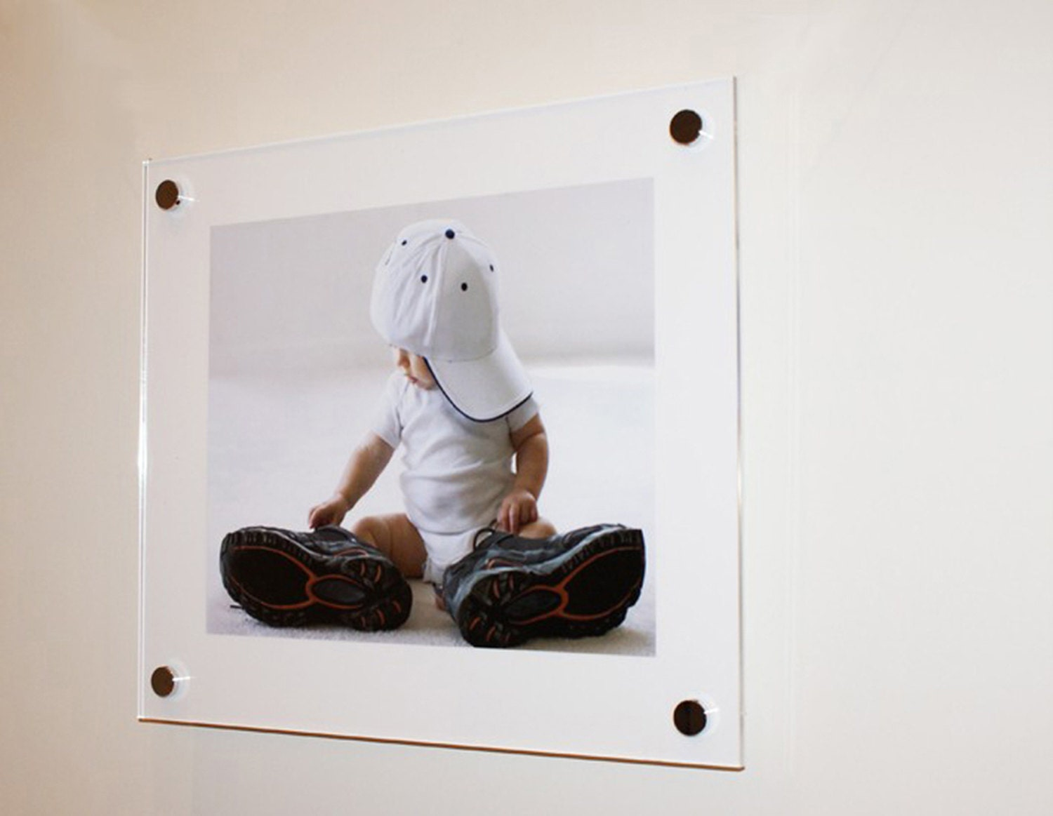 White high gloss Cheshire acrylic 10mm 20 x 20 / 50 x 50 cm picture ...