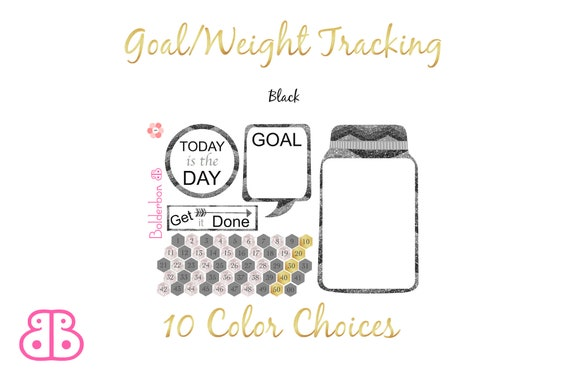 goal weight tracking planner stickers mason jar tracker etsy