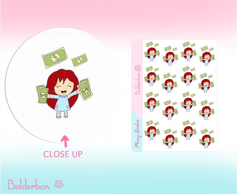 Money Payday Planner Stickers  Bonbon Cute Character Hand image 0