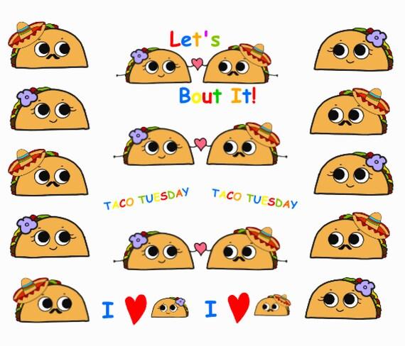 Taco Adesivi Cute Lets Taco Bout It Taco Martedì Io Etsy