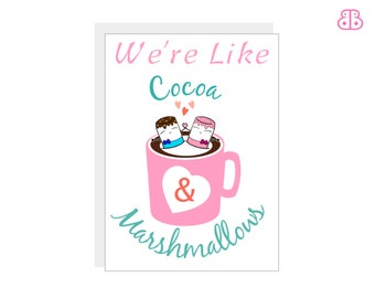Cute Marshmallow Card | Love, Friendship, Anniversary Card, Funny, Greeting, Cocoa Card