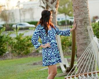 Monogrammed Dress, Monogrammed Tunic, Personalized Dress, Personalized Tunic, Tunic Dress,Navy Mint Tunic, luna lagoon Beach Tunic - TD01