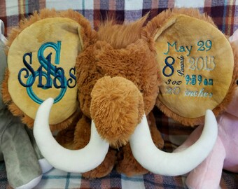 Personalized Cubbie, Personalized Mammoth, Monogrammed Mammoth Cubbie,Personalized Stuffed Animal, monogrammed baby gift, Mammoth
