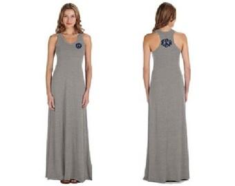 Monogrammed Dress, Monogrammed Racerback Dress, Monogrammed racerback, personalized dress, racerback, racerback dress, long dress - AAMD
