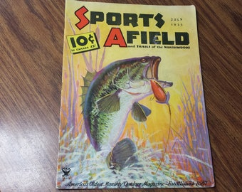 Sports Afield July 1935 Fishing & Hunting Magazine Fred Everett Cover Art