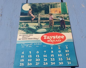 Taystee Bread Calendar 1940 Little Rascals Our Gang Watermelon Patch Alfalfa Buckwheat