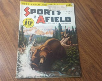 Sports Afield February 1935 Fishing & Hunting Magazine Walter Wilwerding Cover Art