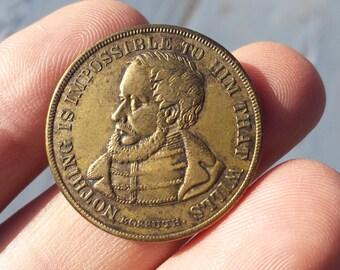 1860's Louis Kossuth Civil War Era Nothing Is Impossible Gaming Token Coin