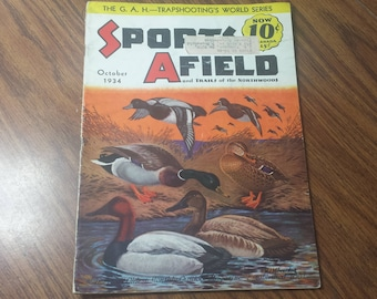Sports Afield October 1934 Fishing & Hunting Magazine Walter Wilwerding Cover Art