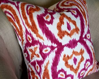 Magenta Ikat Pom Pom Pillow