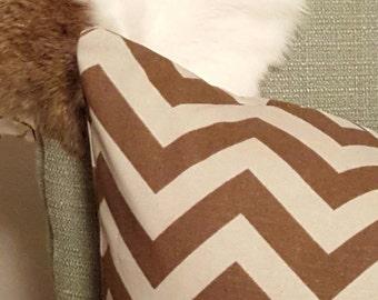 SALE Brown Chevron Pillow
