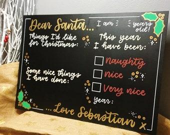 Dear Santa Custom Chalkboard, Reusable