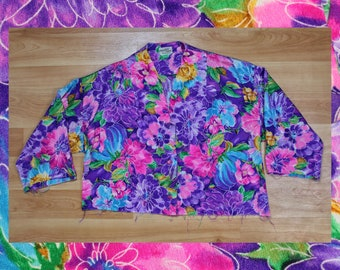 80s bright floral pattern raw hem cropped button up size L