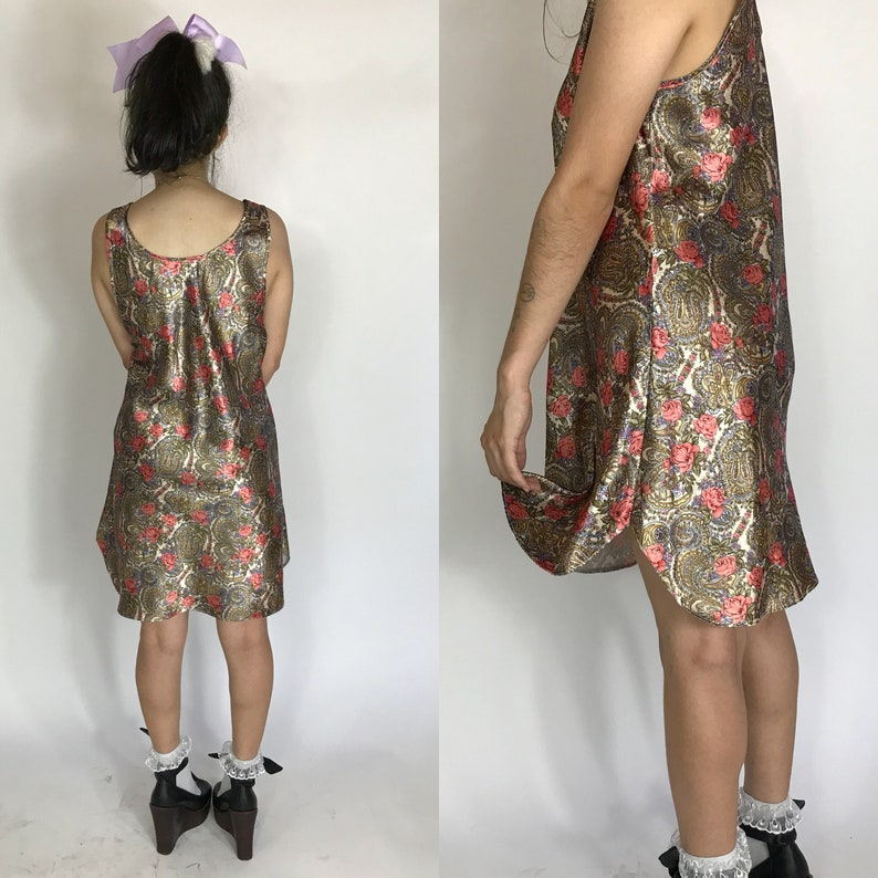 Vintage 1980s gold paisley floral slip  dress ~ size SM